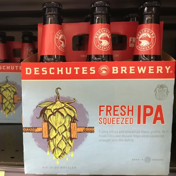 Fresh Squeezed IPA from Deschutes Brewery (Bend, Ore.): A refreshing, medium-bodied India pale ale with an amber hue and fluffy off-white head. Aromas of citrus and grapefruit come from the Citra, Mosaic and Nugget hops used in this brew. Expect a bubbly mouthfeel from the carbonation and subtle bitter kick on the backend.