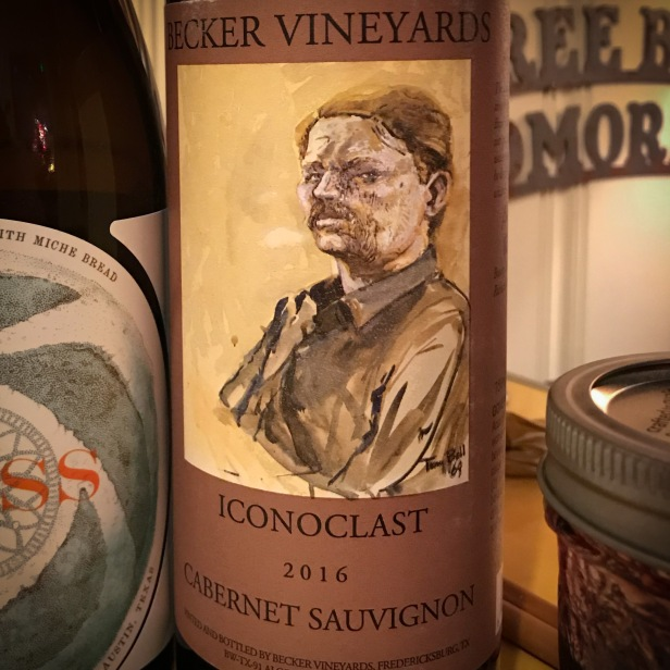 Becker Iconoclast 2016 Cabernet Sauvignon: Iconoclast is Beckers best selling wine, which is technically a bordeaux style blend (Cabernet Sauvignon, Merlot, Malbec, and Petit Verdot) but Cabernet Sauvignon makes up the vast majority of the blend. This Texas wine goes down easy with violets, vanilla, baking spices, and dried cherries on the nose, followed by dark berries, plums, and coffee on the palate. Great example of a Texas cab!